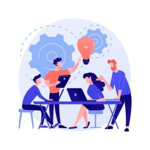 Equipe en train de mettre en place une stratégie de communication